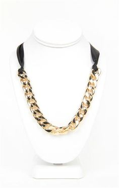 Deb Shops #gold chain link #necklace with ribbon $7.12