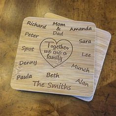 Together we are a family Custom Engraved Set 6 Square Bamboo