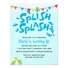 Water Splash Boy Pool Party Birthday Invitation  Pool Party