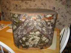 Dated 1836 with Original Hannah Davis Label Large Wallpaper Hat Box with Lid