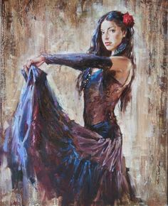 Hand Painted Spanish Flamenco Dancer painting latina woman Oil painting on canvas hight Quality Hand-painted Painting latina outdoor living AliExpress Affiliate's Pin. View the item in details by clicking the image Oil Painting On Canvas, Canvas Art, Canvas Ideas, Painting Art, Flower On Head, Art Expo, Art Design, Beautiful Paintings, Figurative Art