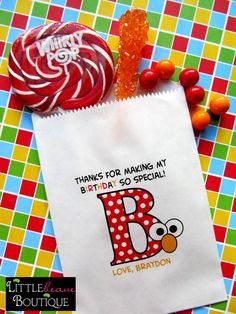 Elmo Birthday Party, Sesame Street Birthday Party , Favor bags-I think this is such a cute idea!
