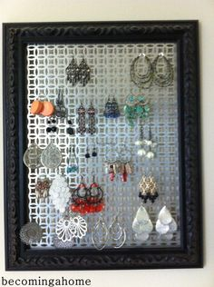 earring organizer.  DEFINITELY going to have to make one of these.