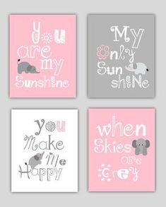 Elephant Art, You are my sunshine Pink and Gray Art Prints, 4-8x10 prints, Matches Boy or Girl Nursery, nursery, or playroom