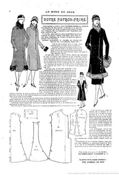 1920s Coat Pattern with fur  Vintage Pattern