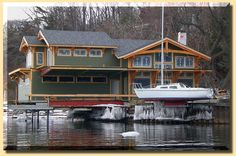 The Boathouse: a new definition to lakefront living! Boat Hoist, Boat Dock, Lakefront Property, Rustic Design, Cottage, Architecture, House Styles, Photos, Landscape Rake