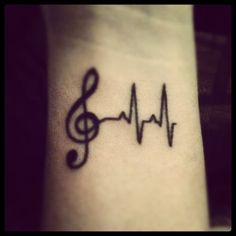 Music heart beat tattoo.