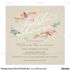 "Vintage Linen Floral Wreath Bridal Shower Invites 5.25"" Square Invitation Card"