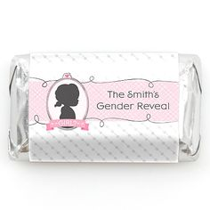 Gender Reveal - Girl - 20 Mini Candy Bar Wrappers Sticker Labels - Personalized Baby Shower Favors