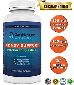 Kidney Support  Superb Blend of Cranberry Extract and 20 Other Herbs and Nutrients Formulated to Help Support the Kidneys and Urinary Tract 60 Capsules 2 Month Supply 100 Satisfaction Guarantee *** Find out more about the great product at the image link.