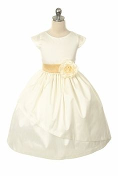 @Dawn Carney how gorgeous is this dress? Ivory Poly Dupioni Dress w/Sleeves