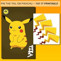 Pin the Tail on Pikachu Pokemon party game pokemon by Dadparties Kids Party Games, Birthday Party Games, 6th Birthday Parties, 7th Birthday, Birthday Ideas, Game Party, Pokemon Party Supplies, Pokemon Party Decorations, Pokemon Pins