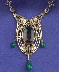 Art Nouveau Gold necklace with pearl, black opal and green chalcedony by James Winn