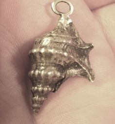 Lovely Sterling Silver .925 Conch Shell Seashell Charm Pendant Made In Italy NR