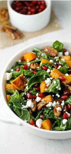 This is the perfect easy winter salad for a healthy holiday! The butternut squash makes it a healthy and hearty meal all in it's own.