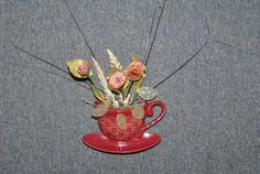 Kitchen-Cup And Saucer-Wall Decor-Hanging Decoration-Pencil Shaving Flowers  by GinasCornerCrafts, $24.99