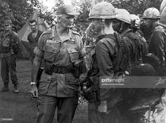 US Army General WC Westmoreland congratulates men of the 25th Infantry Division for their success in defeating an overwhelming Viet Cong force during Operation Paul Revere, Pleiku, Vietnam, May 1966.