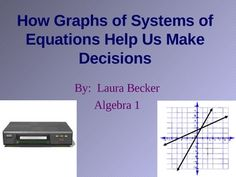 Graphs of Systems of Equations in Real Life~ This contains 15 slides showing a real world application to solving and graphing systems of equations. Students see how using a system of equations can help them make informed decisions about whether or not to join a video club based on the number of movies that they plan to rent. Equations are made, then graphed, and the solution is justified.