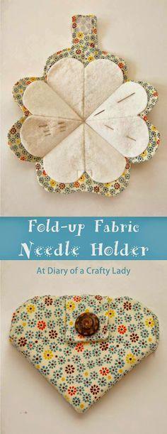 Fold-up Fabric Needle Holder - tutorial                              …