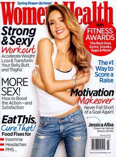 Jessica Alba – Women's Health Magazine Cover [United States] (March - Women Health Tips Jessica Alba, Adele Weight, Womens Health Magazine, Oprah, Weight Loss Transformation, Health Tips, Women's Health, Health Foods, Gym Workouts