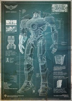 Pacific Rim Technical Drawing blueprint sketch Home Poster Decoration - Print The Globe - 2
