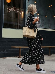 polka dot dress, sneakers & straw bag | @andwhatelse