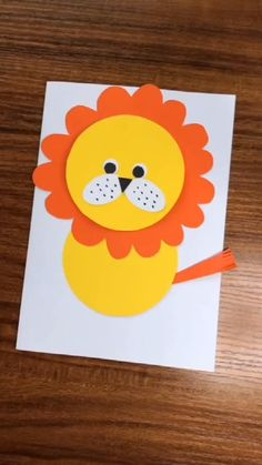 This cute easy DIY paper lion is just so good for your kids. Have fun with it! Kids Crafts, Diy Crafts For Kids Easy, Animal Crafts For Kids, Summer Crafts For Kids, Toddler Crafts, Preschool Crafts, Thanksgiving Crafts For Kids, Kids Diy, Paper Crafts Origami