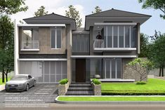 Rumah Sudut Puri Botanical Residence - by yudho patrianto Bungalow House Design, House Front Design, Small House Design, Modern House Design, House Architecture Styles, Facade Architecture, Flat Roof House, Facade House, Modern Tropical House