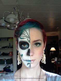 sugar-skull-make-up- half face Halloween Makeup Sugar Skull, Sugar Skull Costume, Sugar Skull Makeup, Halloween Skull, Halloween Make Up, Halloween Ideas, Halloween Costumes, Skeleton Makeup, Halloween Cosplay