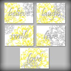 Yellow Gray Wall Art Decor Inspirational Quote By Collagebycollins, FIVE  (5) YELLOW AND