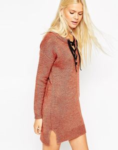 Image 1 ofASOS Tunic Dress With Lace Up Detail in Knit