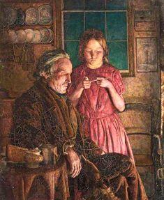 Grandfather's Comfort - Lee John Style: Romanticism Genre: genre painting