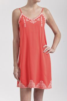 Summer Dress This dress is perfect for any occasion you may have this summer! The bright orange color is a head-turning detail while the lace embroidery adds a classic touch. Wear this to a wedding, graduation, or shower. You can buy this dress for only $32.00 by clicking through to our website. blushandbashfulboutique.com