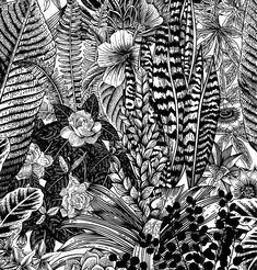 Exotic Floral Wallpaper - Self Adhesive Fabric Wallpaper - Removable, Repositionable, Reusable. Pop Art Wallpaper, Nursery Wallpaper, Fabric Wallpaper, Flower Wallpaper, Nursery Wall Art, Bird Wall Art, Floral Wall Art, William Morris, Linocut Prints