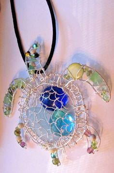 Sea turtle beach sea glass pendant blue/green st by StudioPMR, $62.50