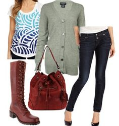 Knee high lace up boots work well with skinny pants too. A walnut, ranger boot-inspired laces would complement well a dark blue skinny jean. Complete the look with a white graphic tee with oversized sunglasses in summer, add a cashmere boyfriend cardigan in fall, or layer with a knitted boyfriend sweater in winter. This is the way to channel that army attitude with a splash of sweetness and elegance.