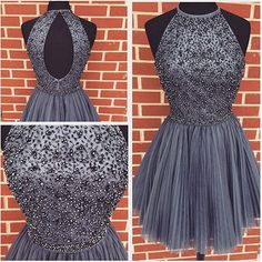 Halter High Neck Gray Tulle Beaded Bodice Homecoming Dresses,Hot 59