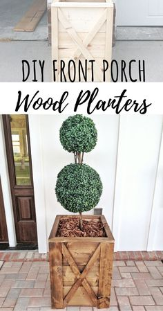 DIY tutorial on easy front porch wooden planters! DIY tutorial on easy front porch wooden planters! Diy Wooden Planters, Wood Planter Box, Porch Wooden, Wooden Diy, Diy Planters Outdoor, Planter Ideas, Wooden Crafts, Front Porch Planters, Porch Plants