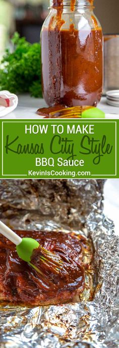 My Kansas City Style BBQ Sauce stays true to the traditional and is on the sweet side using a brown sugar base, but is balanced with chili powder and black pepper that gets simmered with molasses, yellow mustard and other warm spices. Used on Kansas City Style Ribs that are typically characterized by this thick, sticky sauce brushed on in the last 30 minutes of cooking. #ribs #KansasCityStyle #BBQ #BBQSauce
