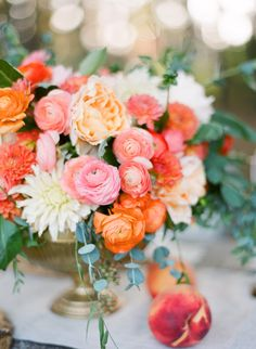 Peach perfection: http://www.StyleMePretty.com/2014/03/28/peach-wedding-inspiration-full-of-color/ from   JustinDeMutiisPhotography.com