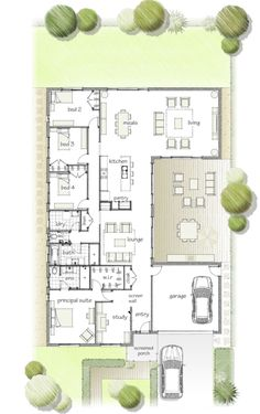 Same floorplan as the last one I pinned but flipped. I like this layout for a house Same floorplan as the last one I pinned but flipped. I like this layout for a house U Shaped House Plans, U Shaped Houses, Br House, Sims House, Open House, House Beds, Dream House Plans, House Floor Plans, Bathroom Floor Plans