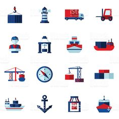Seaport Flat Icons  Set royalty-free stock vector art