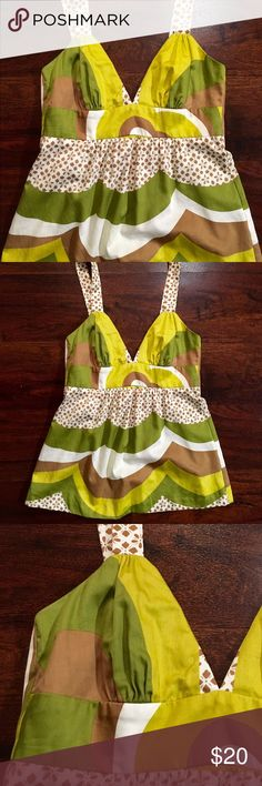 Trina Turk Tank ✔️Brown, Yellow, Green and White ✔️Adjustable Straps ✔️100% Cotton ✔️Excellent Used Condition Trina Turk Tops Tank Tops