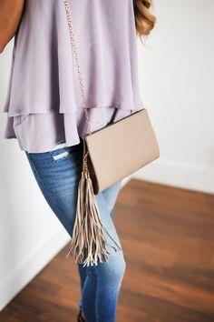 Taupe Tassel Purse - Dottie Couture Boutique