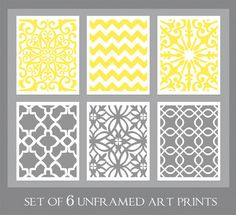 UNFRAMED ART PRINTS    Textile Inspired Art Print Set by Ink and Nectar - Medium Gray and Bright Yellow    Art Print Set Details:    • Includes 6 -