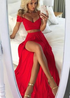 Sexy Off Shoulder Red Prom Dress,Two-Piece Chiffon Evening #prom #promdress #dress #eveningdress #evening #fashion #love #shopping #art #dress #women #mermaid #SEXY #SexyGirl #PromDresses