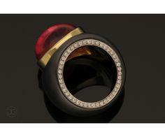 ring gold 750 steel turmalin 14,91ct diamonds brillant-cut 0,16ct