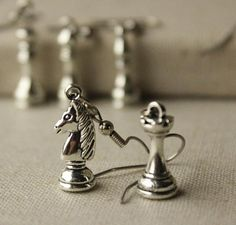 SIX pairs Chess earrings chess player jewellery chess piece
