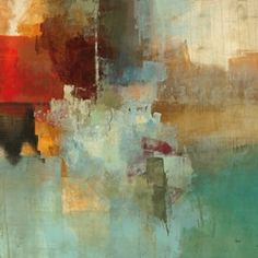 """A matching set, """"Big City I"""" and """"Big City II"""", by Randy Hibberd. Hibberd is fascinated by the power of colors and their ability to convey emotion, even without specific imagery. As his canvas prints evolved, he began to experiment by adding more deliberate texture and depth."""