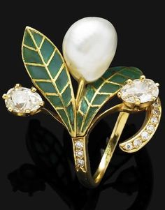 An Art Nouveau natural pearl, enamel and diamond ring, circa 1905. Of foliate design, the ring mounted with a baroque-shaped natural pearl, set between plique-à-jour enamel leaves, to the old-cut pear-shaped diamonds and single-cut diamond detail, mounted in gold, French assay mark. #ArtNouveau #ring